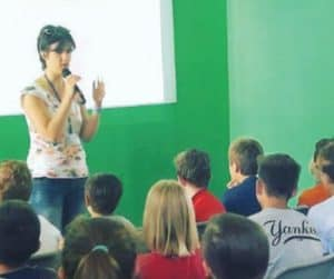 A tutor with some young people during a session of the Up2Me project