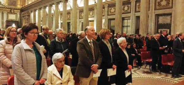 Maria Voce with members and friends of the Focolare at a Mass in memory of Chiara Lubich in the Basilica of Santa Maria Maggiore in Rome last March 2019