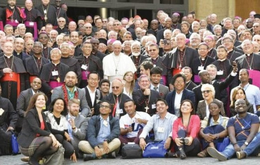 Pope Francis with the bishops and youth delegates to the Synod on Young People last October 2018