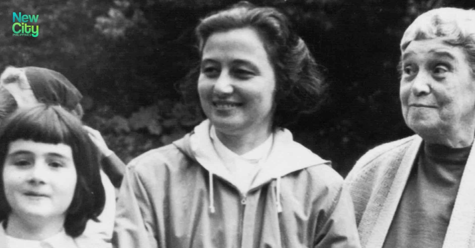 Chiara Lubich with other participants of a Mariapolis in the Dolomite mountains in the 1950s.