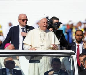 Pope Francis arrives to celebrate Mass at Zayed Sport City in Abu Dhabi.
